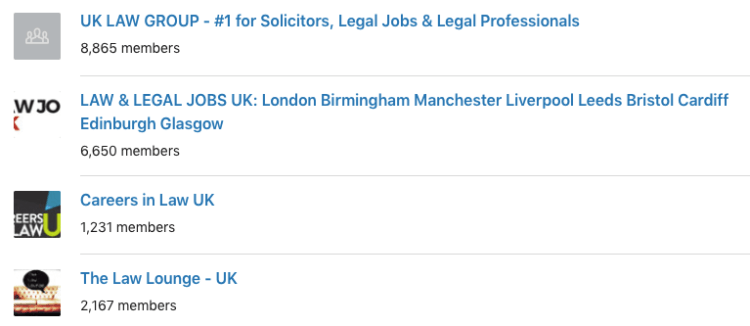 uk linkedin groups list screenshot