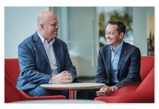 Lifelong friends and Co-founders Jack Newton, Chief Executive Officer (left), and Rian Gauvreau, Chief People Officer (right)