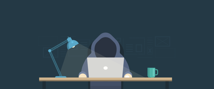 Vector image of a hooded figure with a blue lamp sitting in front of a mackbook with a blue cup of coffee in the dark indicating a hacker.