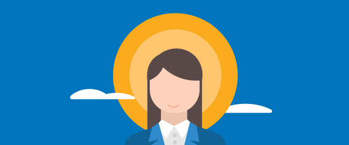 Woman in front of a sun and clouds and blue sky vector image