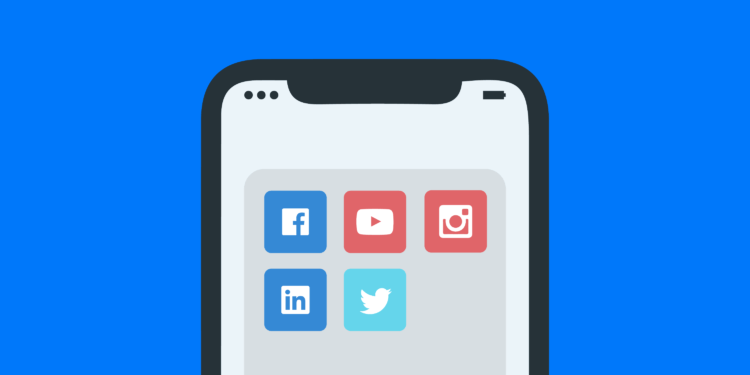 Illustration of a phone with social media icons