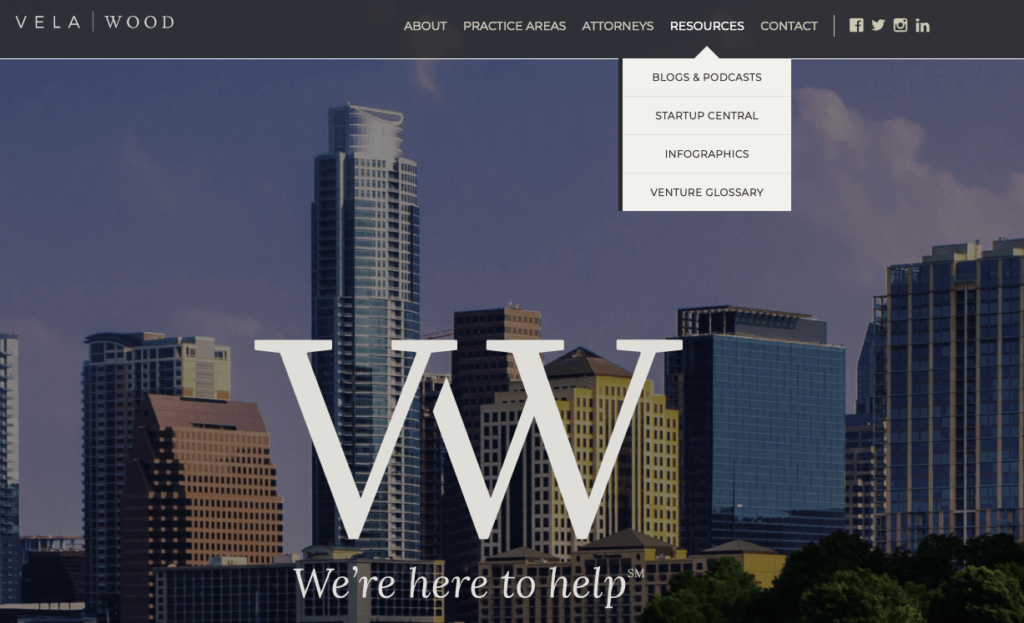 Clio customer example of website design with great educational resources - Vela Wood