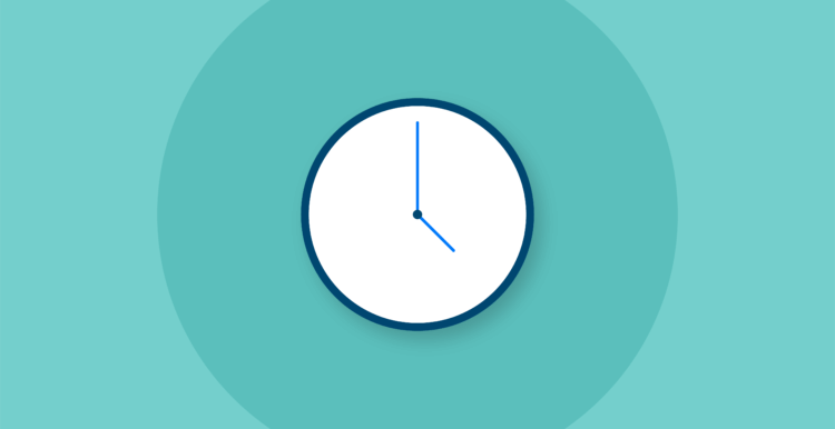 Illustration of a clock on a teal background