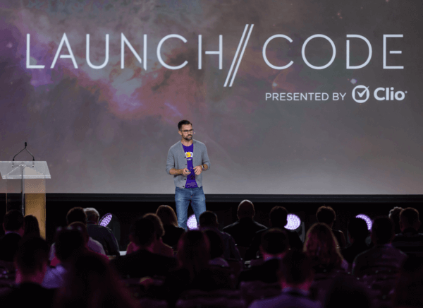 Tali pitching at the 2018 Launch//Code finals.