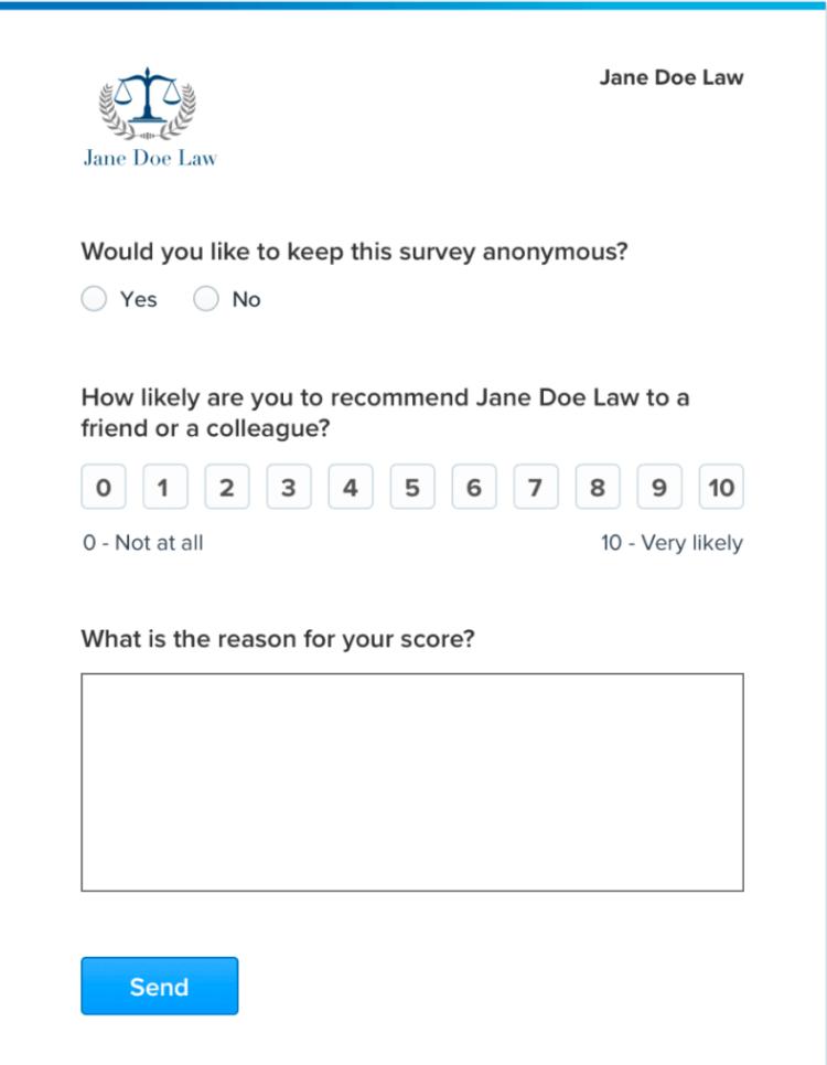 Clio Client Satisfaction Program Form
