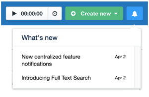 A screenshot of the What's New in-app widget for Clio Manage