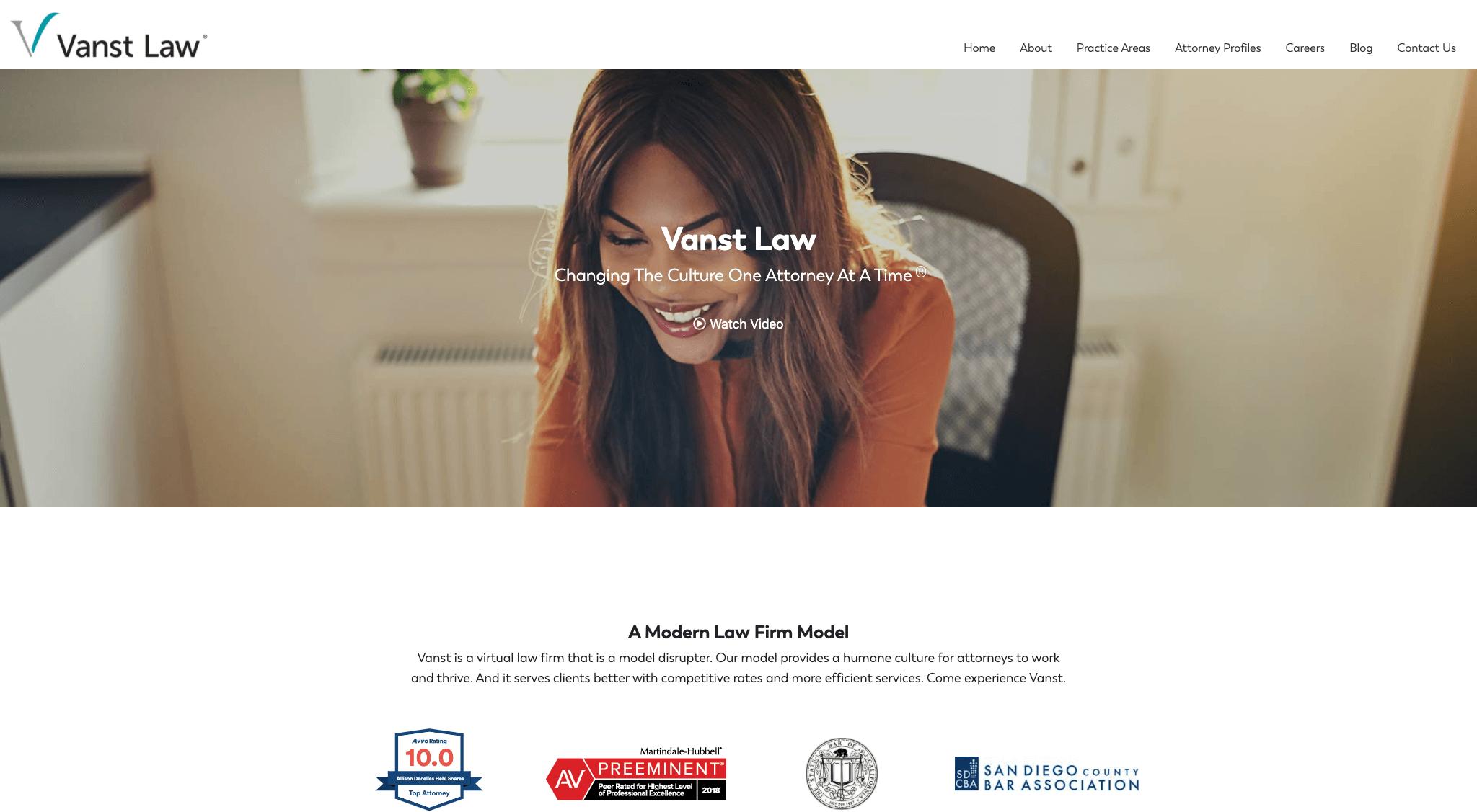 Vanst Law Website